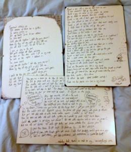 EM handwritten lyrics - click to see full size image